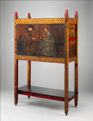 Philip Webb (1831–1915): Cabinet (The Backgammon Players), Painted by Sir Edward Burne-Jones (1833–1898). Morris, Marshall, Faulkner & Co., 1861. Painted pine, oil paint on leather, brass, copper. H. 73 in. (185.4 cm), W. 45 in. (114.3 cm), D. 21 in. (53.3 cm). The Metropolitan Museum of Art, New York.
