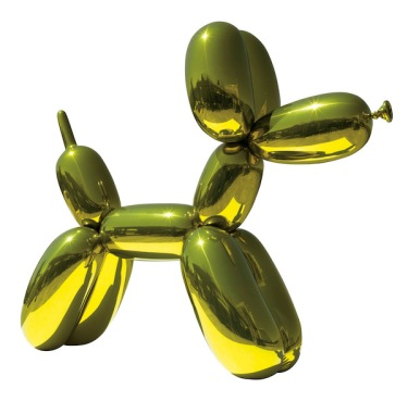 Jeff Koons, Balloon Dog (Yellow), 1994 – 2000. Mirror-polished stainless steel with transparent color coating; 121 x 143 x 45 in. (307.3 x 363.2 x 114.3 cm).  Private collection. © Jeff Koons.