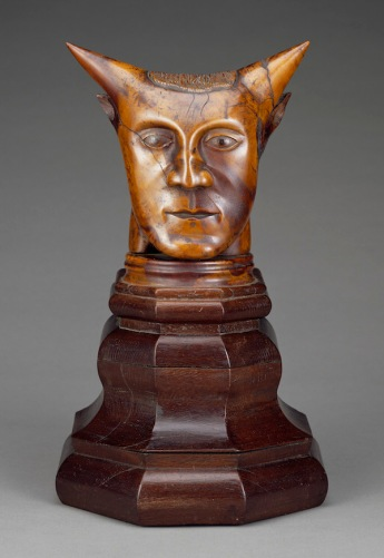 Paul Gauguin (French, 1848–1903). Head with Horns. 1895–97. Wood with traces of paint, head 8 11/16 x 9 x 4 3/4″ (22 x 22.8 x 12 cm); base 7 7/8 x 9 13/16 x 6 7/8″ (20 x 25 x 17.5 cm). The J. Paul Getty Museum, Los Angeles