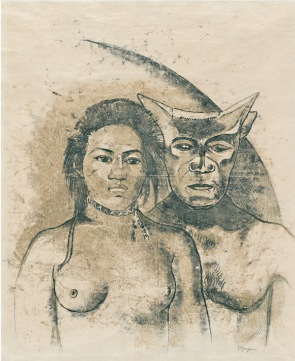 Paul Gauguin (French, 1848–1903). Tahitian Woman with Evil Spirit (recto). c. 1900. Recto: oil transfer drawing; verso: graphite and colored pencil, sheet 25 9/16 x 18 1/8″ (65 x 46 cm). The Museum of Modern Art, New York.